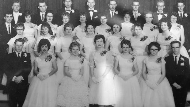 Beverley McLachlin – second row, third from right – poses with her classmates in the graduating class of Matthew Halton High School.