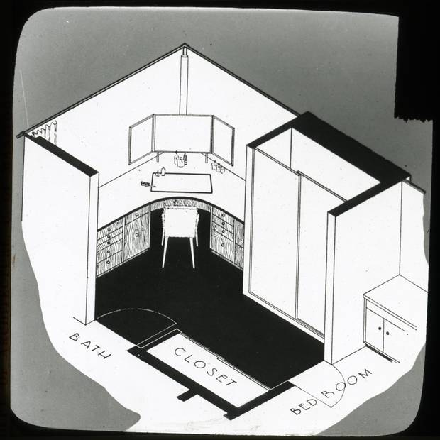 The Hobbs Sun House, Rosedale, Toronto. Detail drawings of the interior. Dressing room.
