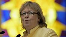 Green Party Leader Elizabeth May speaks to a Canadian Jewish Congress assembly in Toronto on May 31, 2009. (Reuters)
