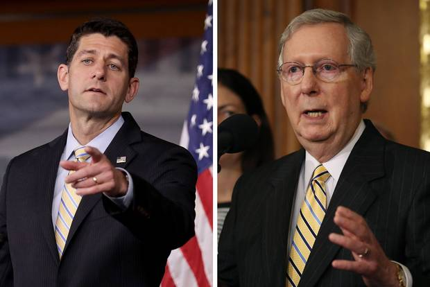 Speaker of the House Paul Ryan, left, and Senate Majority Leader Mitch McConnell, right, both Republicans, will be speaking at the GOP convention next week.