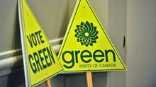 Green Party signs: Their ads on TV attack TV attack ads. (AFP/Getty Images)