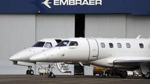 Private jets are seen at the Embraer headquarters in Sao Jose dos Campos, Brazil. (NACHO DOCE/REUTERS)