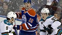 San Jose Sharks' Martin Havlat, 9, and Tommy Wingels, 57, battle for the puck with Edmonton Oilers' Nick Schultz during first period NHL hockey action in Edmonton, Alta., on Tuesday January 22, 2013. (JASON FRANSON/THE CANADIAN PRESS)