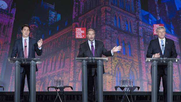 Justin Trudeau, Thomas Mulcair and Stephen Harper face off at The Globe and Mail's election debate on Sept. 17.