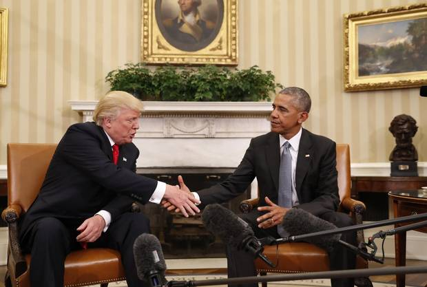 President Barack Obama shakes hands with president-elect Donald Trump in the Oval Office on Nov. 10.