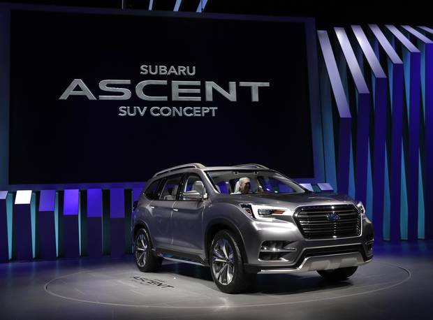 The Subaru Ascent SUV concept vehicle is displayed at the 2017 New York International Auto Show.