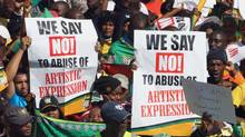 South African ruling party supporters sing during a protest in Johannesburg, South Africa on Tuesday May 29, 2012. (Themba Hadebe/AP/Themba Hadebe/AP)