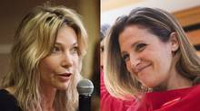 Linda McQuaig and Chrystia Freeland are the NDP and Liberal by-election candidates, respectively, for Toronto Centre. (MICHELLE SIU FOR THE GLOBE AND MAIL)