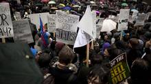 Hundreds protest in Vancouver, British Columbia, Friday, March 2, 2012. (Rafal Gerszak For The Globe and Mail)
