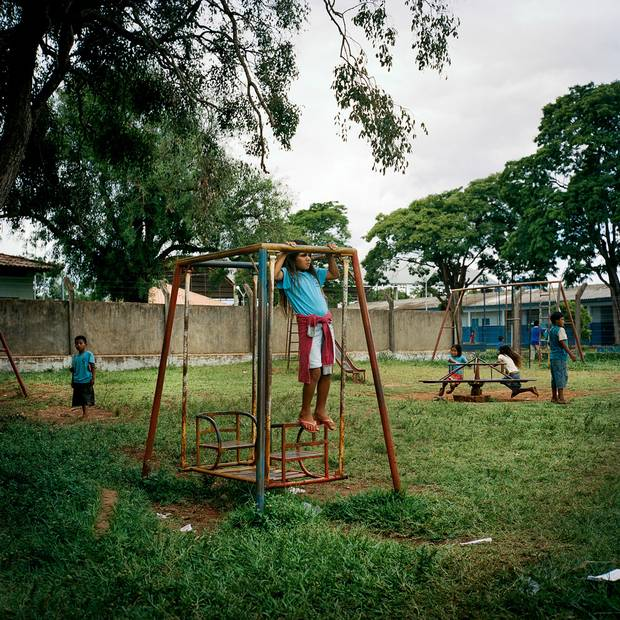 Children play in a schoolyard in Amambai.