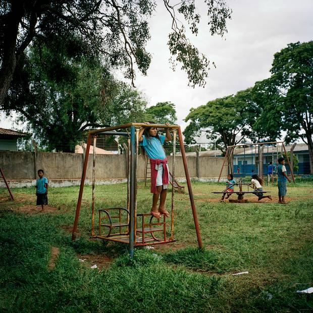 Children play in a schoolyard in Amambai.