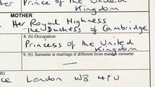 "FULL-TIME OR PART-TIME? Prince George's birth certificate is now public, and it is a wonderful example of how royals are not like you and me. For one, little Georgie's name, in full, is listed as His Royal Highness Prince George Alexander Louis of Cambridge. Even better, though, is what's listed under his mother's occupation: ""Princess of the United Kingdom."" Hey, everybody needs a job, right? (Stefan Rousseau/AP)"