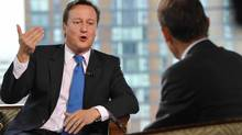 Prime Minister David Cameron appears on the Andrew Marr Show on the BBC during the first day of the Conservative Party's annual conference, Oct. 2, 2011, in London, England. (Handout/Getty Images)