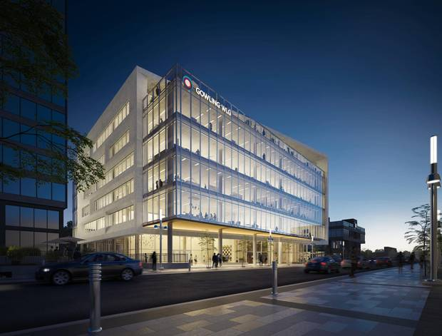 The Gowling law firm will lease the top two floors of the building, shown in this rendering, when it opens in 2020. Diamond Schmitt is the project architect.