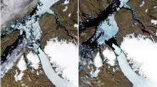 Satellite images of Greenland's Petermann Glacier on July 28, left, and Aug. 5. (NASA/AFP/Getty Images)