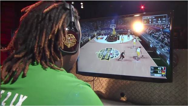 Artreyo Boyd, known as Dimez, captains his team play for $250,000 in an NBA2K Tournament during the 2017 NBA All-Star week.