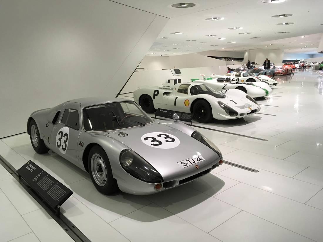 A 1964 Porsche 904 Carrera GTA on display at the Porsche Museum.