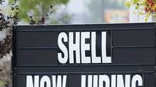 A sign posted at a Shell filling station in Fort McMurray, Alta. (Kevin Van Paassen/Kevin Van Paassen/The Globe and)