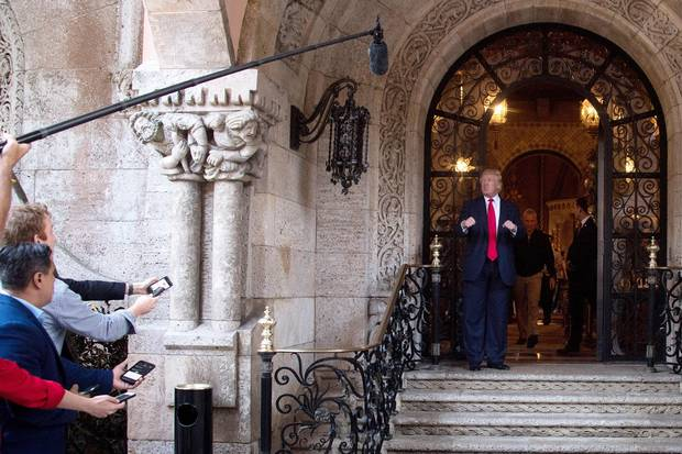 Mr. Trump speaks to reporters at Mar-a-Lago.