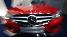 A Mercedes Benz E250 car is pictured before the start of Daimler AG's annual news conference in Stuttgart Feb. 7, 2013. (MICHAEL DALDER/REUTERS)