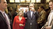 Liberal Leader Michael Ignatieff gives the thumbs up as he and his wife Zsuzsanna Zsohar take the elevator after a campaign stop in Winnipeg on April 19, 2011. (JONATHAN HAYWARD/THE CANADIAN PRESS)