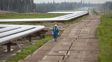 A Nexen employee walks along the pipe arrays that lead off to the steam-assisted gravity drainage well pads at Nexen's Long Lake oil sands facility southeast of Fort McMurray, Alta. (Nexen Inc.)