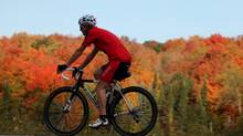 A cyclist rides past the fall colours in Gatineau Park October 1, 2013 in Gatineau, Quebec. (Dave Chan for The Globe and Mail)