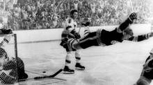 Bobby Orr, who went flying after scoring Boston's Stanley Cup-winning goal against St. Louis in 1970, says if the NHL really wants to see its stars shine, 'one of the best ways is to give them more time and space to be creative. And that is the enforcer's job description.' (RAY LUSSIER/AP)