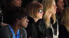 Actress Viola Davis, U.S. Vogue editor Anna Wintour and tennis player Maria Sharapova attend the Vera Wang Fall/Winter 2012 collection during New York Fashion Week February 14, 2012. (KENA BETANCUR/REUTERS)