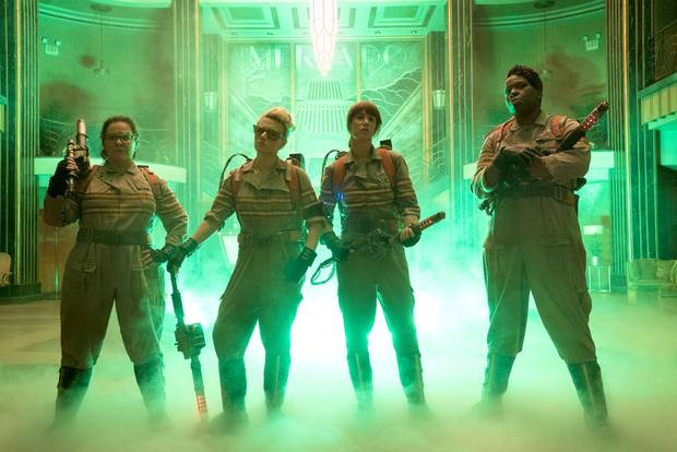 The Ghostbusters' cast includes, from left, Melissa McCarthy, Kate McKinnon, Kristen Wiig and Leslie Jones.