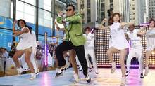 "South Korean rapper Psy performs his massive K-pop hit ""Gangnam Style"" live on NBC's ""Today"" show, Friday, Sept. 14, 2012, in New York. (Jason DeCrow/Associated Press)"