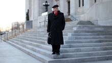 Supreme Court of Canada Justice Morris Fish pose for a photograph on the front steps of Supreme Court April 22, 2013 in Ottawa. Justice Fish announced that he will retire at the end of August. (DAVE CHAN FOR THE GLOBE AND MAIL)