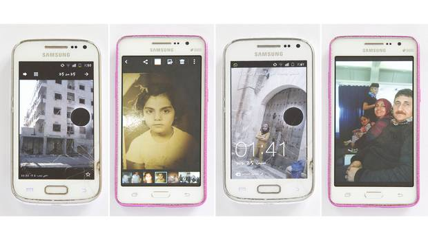 Images on the cracked phone the family brought to Canada, from left: A capture of the second-floor apartment the Suleymans left in Aleppo sent hours after it was struck by a bomb on June 6, the first day of Ramadan; Aliye at the age of 6, on her first day of school; daughter Esra, 13, in a doorway after visiting her aunt Iman, shortly before leaving Turkey for Canada; son Suleyman, 6, with a flight attendant and his parents over the Atlantic during the long flight from Ankara on April 29.