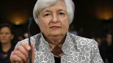 U.S. Federal Reserve Chair Janet Yellen testifies before the Senate Banking Committee on Capitol Hill in Washington July 15, 2014. (KEVIN LAMARQUE/REUTERS)