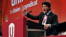 Jerry Dias gives a speech after being declared the first president of the new Unifor union at the Unifor founding convention in Toronto, Saturday, August 31, 2013. (Galit Rodan/The Canadian Press)