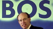 Chief executive of the Halifax bank James Crosby is seen while announcing the proposed £28-billion merger to create HBOS in London in a May 4, 2001 file photo. Crosby said he has asked British authorities to remove his knighthood and will forego 30 per cent of his pension after being criticised for his role in the collapse of the British bank. (STAFF/REUTERS)