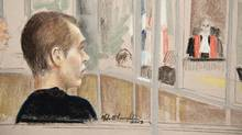 Luka Rocco Magnotta in a courtroom sketch, Jan. 9, 2013 in Montreal. (Mike McLaughlin)