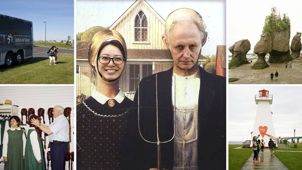 Feature writer Ian Brown and reporter/translator Xiao Xu – shown at middle in an American Gothic cutout at the Covered Bridge Potato Chip Company in Hartland, N.B. – spent seven days travelling with a group of mostly Chinese tourists from Toronto to Prince Edward Island and back.