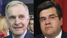 Marcel Côté and Denis Coderre are rival candidates for the Montreal mayoralty. (PAUL CHIASSON AND GRAHAM HUGHES/THE CANADIAN PRESS)