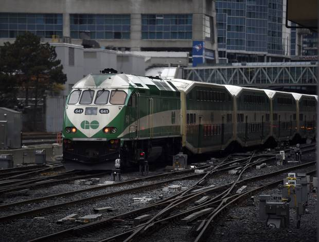 A GO Train leaves Union Station on April 22, 2015.