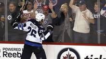 Winnipeg Jets forward Blake Wheeler celebrates his goal against the Carolina Hurricanes during third period preseason NHL action in Winnipeg on Wednesday, September 28, 2011. (JOHN WOODS/The Canadian Press)