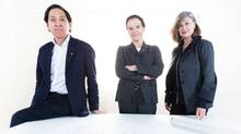 The architects of KPMB, from left to right, Bruce Kuwabara, Marianne McKenna, and Shirley Blumberg in their offices in Toronto, Ontario on April 16, 2014. (Peter Power for The Globe and Mail)
