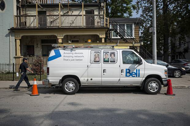 A Bell utility vehicle is shown in Toronto on Sept. 19, 2017.