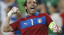 Italy's goalkeeper Gianluigi Buffon reacts after their victory at the Group C Euro 2012 soccer match against Ireland at the City stadium in Poznan, June 18, 2012. REUTERS/Sergio Perez (SERGIO PEREZ/REUTERS)