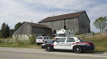 Police execute a search warrant at a farm property owned by Dellen Millard. (Kevin Van Paassen/The Globe and Mail)