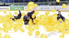 Team USA celebrates in balloons after defeating Sweden during third period gold medal hockey action at the IIHF World Junior Championships in Ufa, Russia, on Saturday, Jan. 5, 2013. (Nathan Denette/THE CANADIAN PRESS)
