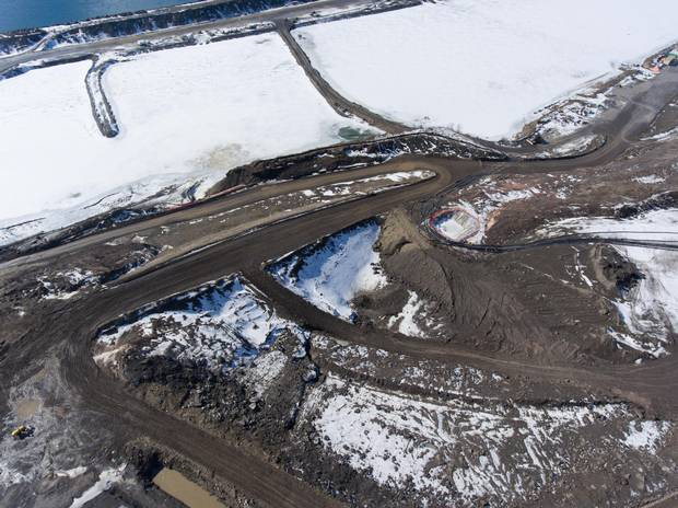 Aerial view of construction along the south bank of the Site C dam.