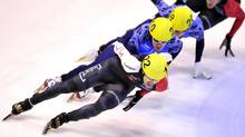Canadian Charles Hamelin in action during the men's 1000 meters final at the Short Track World Cup, in Turin, Italy, Sunday, Nov. 10, 2013. (MASSIMO PINCA/AP)