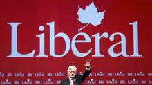 Interim Leader Bob Rae concludes his speech the Liberal policy convention in Ottawa on Jan. 13, 2012. (BLAIR GABLE/Blair Gable/Reuters)