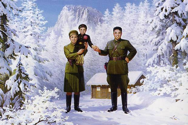 A propaganda image shows North Korean leader Kim Il-sung, right; his wife, Kim Jung-sook; and their son, Kim Jong-il.